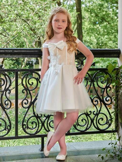 2470584c7fd Off-The-Shoulder Short Sleeves Knee-Length Flower Girl Dress -m.tbdress.com