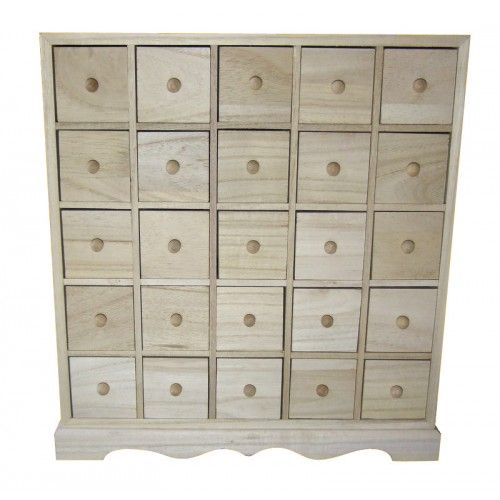 25 Drawer Plain Wooden Storage Box Or Advent Calendar