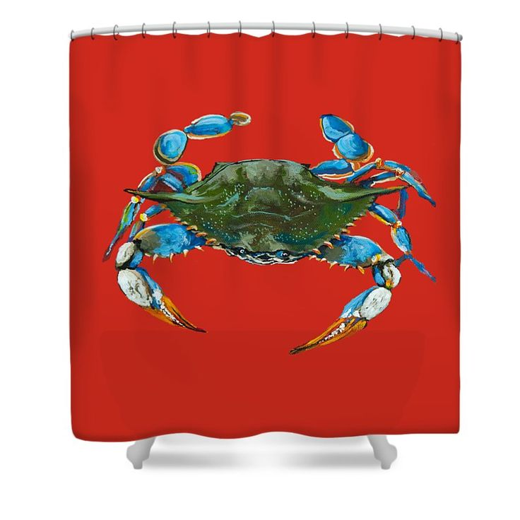 "Louisiana Blue On Red Shower Curtain by Dianne Parks. This shower curtain is made from 100% polyester fabric and includes 12 holes at the top of the curtain for simple hanging. The total dimensions of the shower curtain are 71"" wide x 74"" tall."