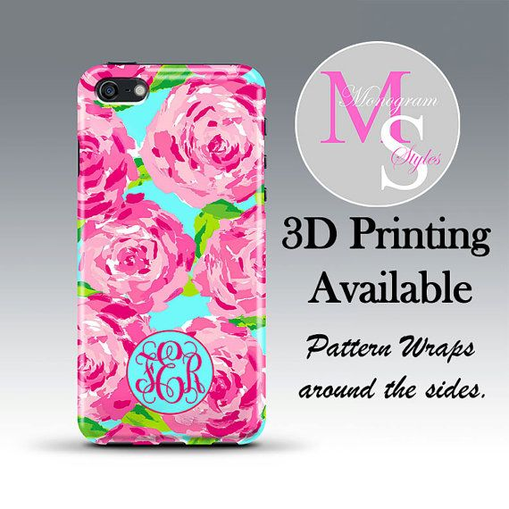 Monogram iPhone Case Personalized Phone Case Lilly Pulitzer Inspired Monogrammed iPhone Case Iphone 4 4S iPhone 5 5S 5C, iPhone 6 Plus #2211