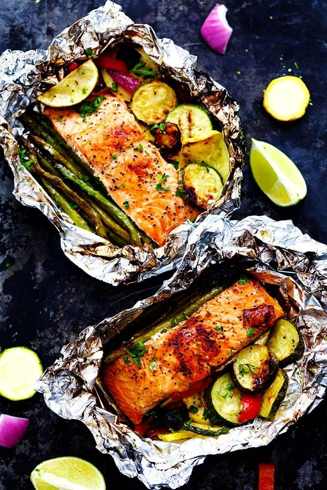 Salmon with lime butter grilled in the leaf with Summer Veggies # Butter Salmon #f …   – Grillen