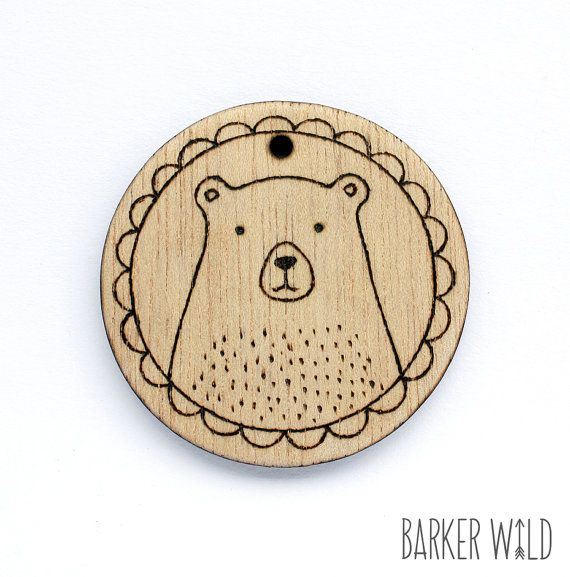 Classic Bear Pendant Pyrography Jewelry Wearable by BarkerWild barkerwild.com (NO re-pinning on DIY/ Ideas boards)