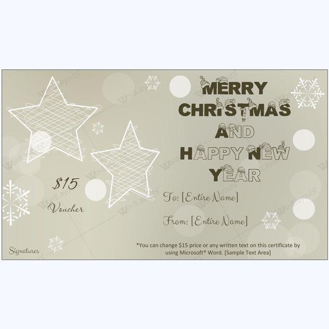 Shinning Stars Christmas Gift Certificate Template #certificate #template #christmascard #giftcard #christmascertificate