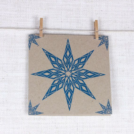 Festive Recycled Christmas Greeting card with Blue Christmas Star #christmas #star #blue #pattern