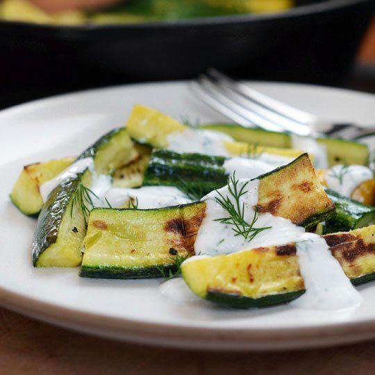 Broiled Zucchini with Yogurt-Dill Sauce | Recipe