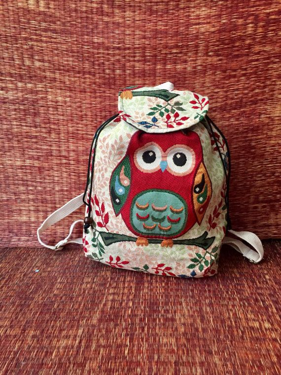 Cute Owl Backpack Tribal Boho Styles fabric by TribalSpiritShop
