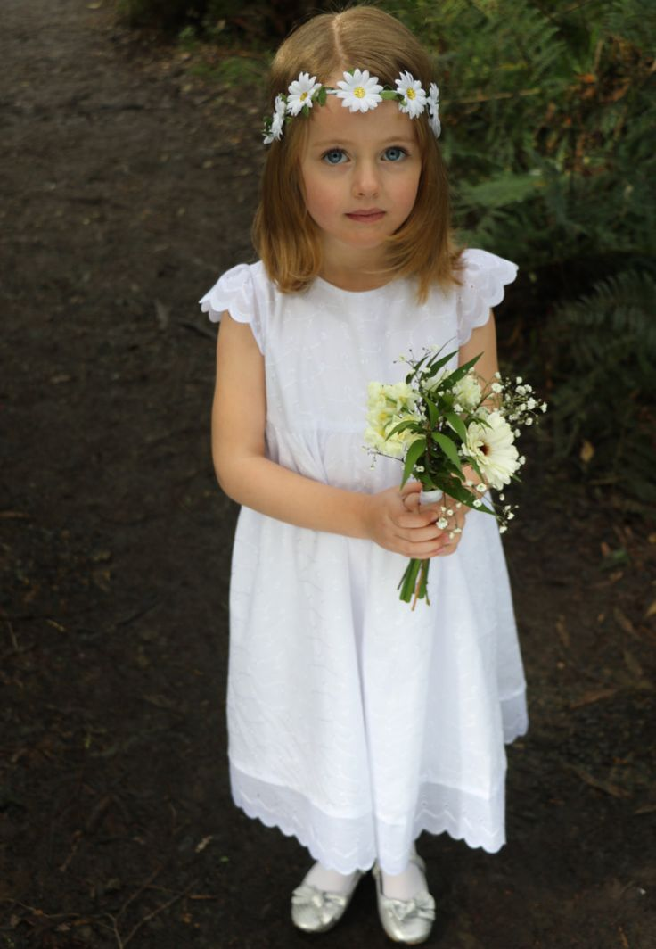 White Flower Girl Dress Baptism Dress First Communion Dress Naming Day Dress Christening Dress Bella- White Lined Broderie Anglaise Girls Baby-doll Dress - Mill in the Sky by millinthesky on Etsy