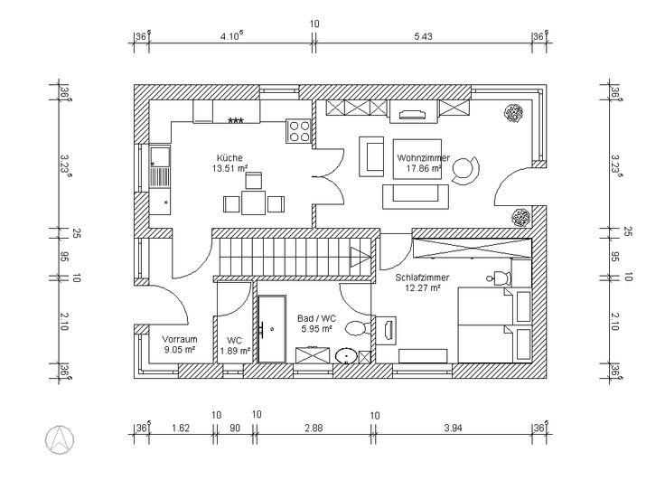Grundriss einfamilienhaus modern gerade treppe  8 besten Grundriss gerade Treppe Bilder auf Pinterest | Haus ...