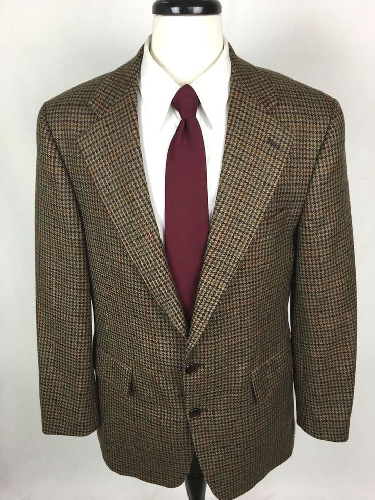 CHAPS Ralph Lauren Blazer 40 Brown Wool Houndstooth Sport Coat Jacket 40R Mens #Chaps #TwoButton