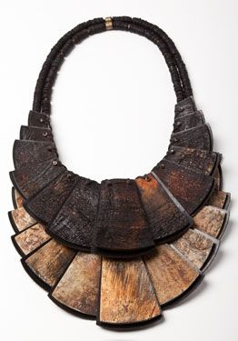 Overdyed and toasted horn and ebony necklace by Urban Zen