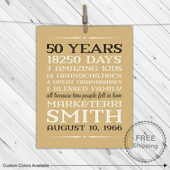 50th anniversary gift for parents anniversary by WillowLanePrints