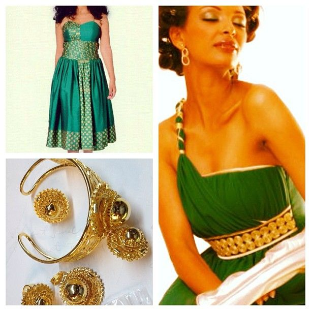 Green melse ideas you your bridesmaids and your werki for Habesha dress for wedding