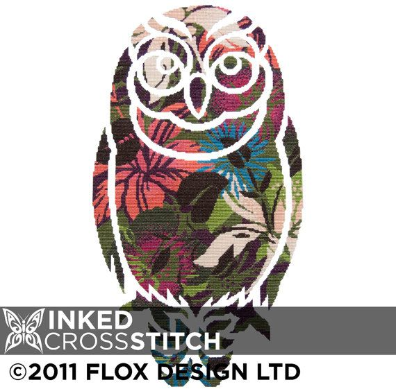 Owl Stencil by Flox - modern counted cross stitch kit - free international…