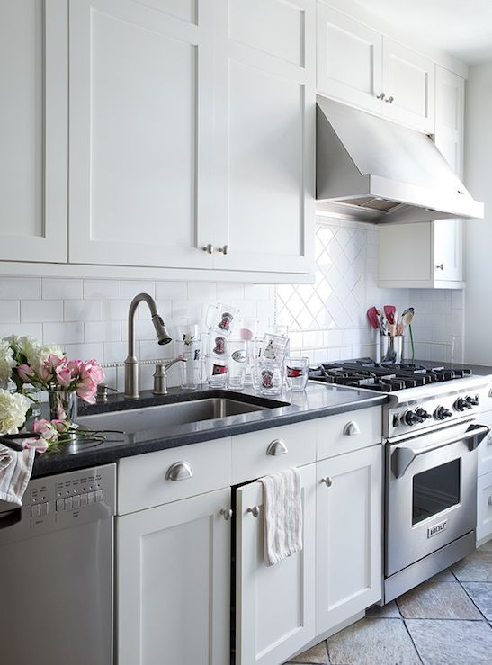 Like This Look   White Shaker Kitchen Cabinets Brushed Nickel Pulls  Hardware Black Granite Countertops Herringbone Pattern Subway Tiles  Backsplash Part 47