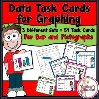 Data Task Cards for Graphing are perfect for students when they draw a bar graph or pictograph to represent data. This pack includes  3 sets of task cards (18 task cards for each set) $