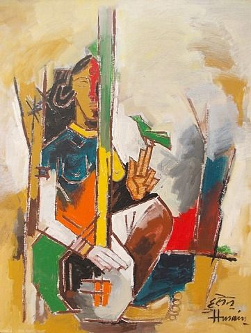 Lady with Veena - M.F. Husain...........One of the most gifted artist of India.