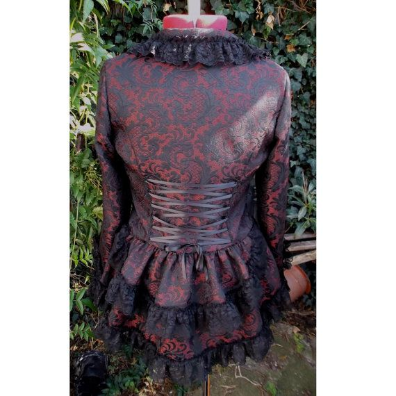 steampunk jacket with bustle in red and black by dashAclothing