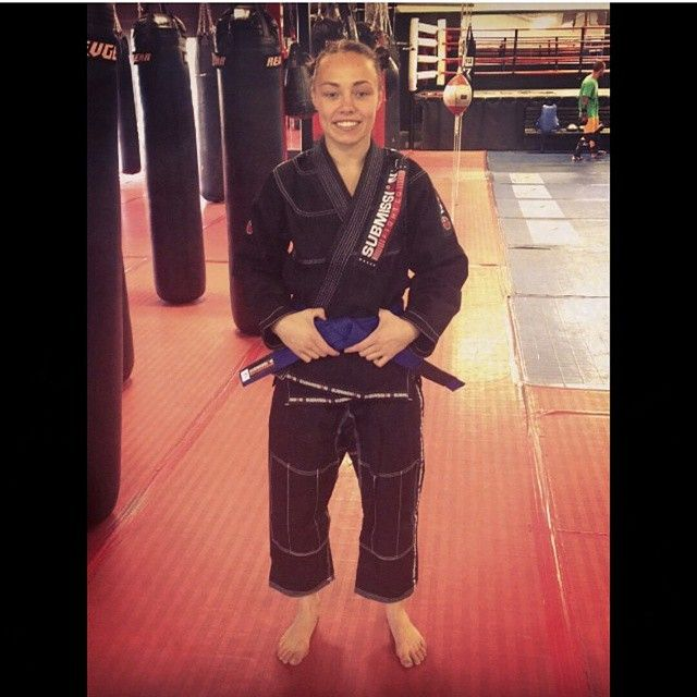 Rose Namajunas of this season's UFC Ultimate Fighter show repping her new Submission Gi!