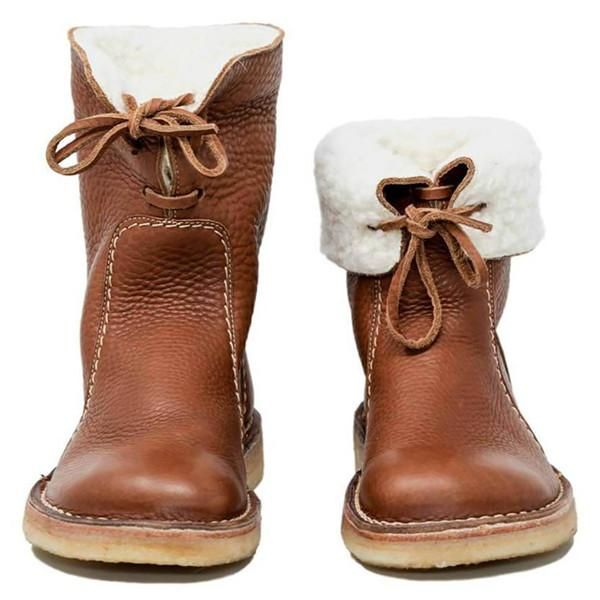Ladies Winter Snow Boots Warm Casual Mid Calf Chestnut