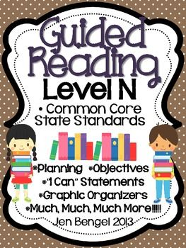 This is a 146 page resource to help teachers plan, instruct, and assess students in a level N guided reading group. It covers 40 teaching fiction, nonfiction, and word work objectives that are all linked to Common Core State Standards. There are tons of printable resources for practical use. Just add the books and the students!!