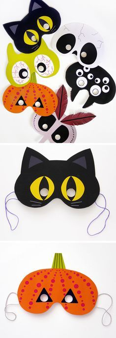 Printable Halloween Masks   Click Pic for 30 DIY Halloween Crafts for Kids to Make   DIY Halloween Craft Ideas for Kids