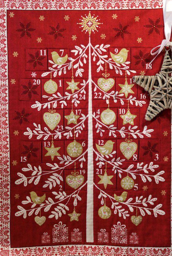Fabric Advent Calendar Red Scandi Advent Calendar Etsy Fabric Advent Calendar Reusable Advent Calendar Scandinavian Christmas