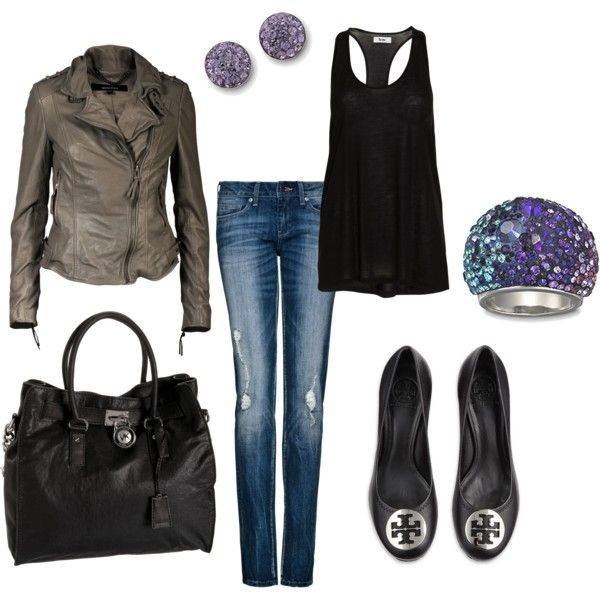 black/grey/purple day outfit