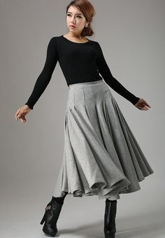 Light gray wool skirt maxi skirt winter skirt swing by xiaolizi