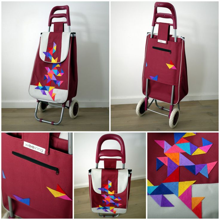 triangular pattern on handmade shopping trolley - woozing - ride your bag