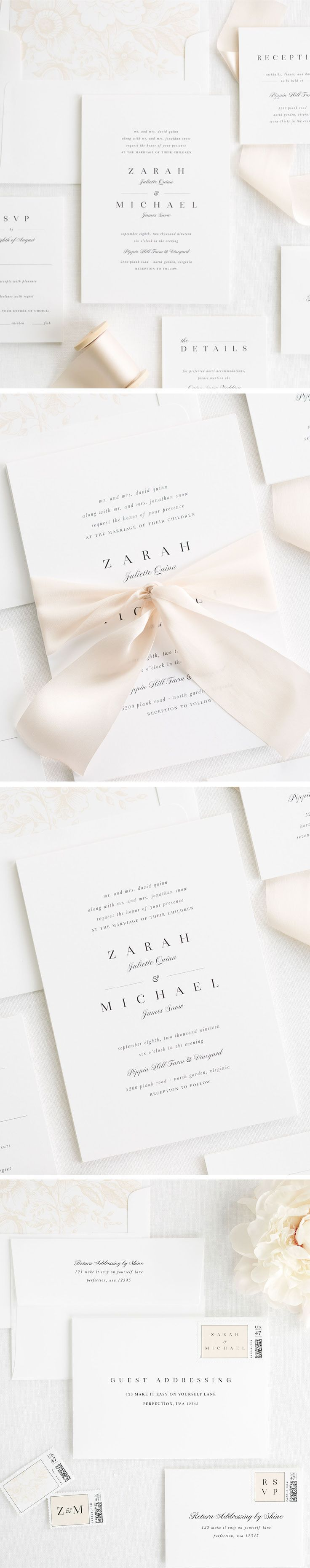 Elegant and unique wedding invitations on white matte card stock. Our Zarah wedding invitation is complete with a champagne floral peonies liner and tied with custom dyed cashmere silk ribbon. Polish your look off with our guest addressing services and cu