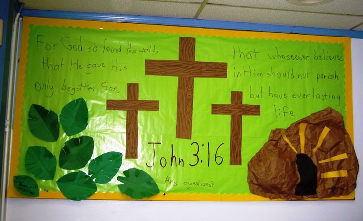 Easter bulletin board :: I like the tomb/stone; very creative