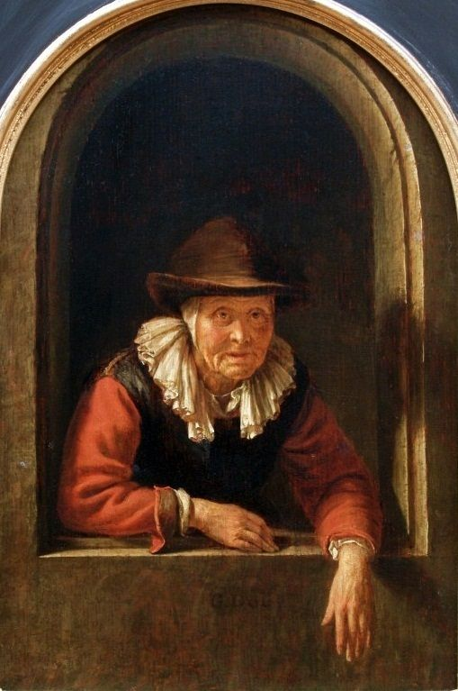 Gerrit Dou: oude vrouw in een venster. ca. 1653. Muzeum Narodowe w, Gdańsku.