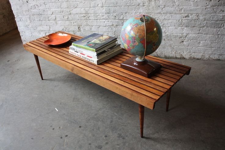 Mid Century Modern Walnut Slat Bench Coffee Table (U.S.A., 1960's) | by Kennyk@k2modern.com