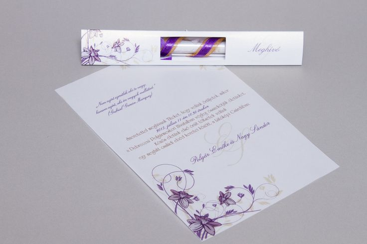 Lila kémcsöves esküvői meghívó _ purple message in bottle wedding invitation