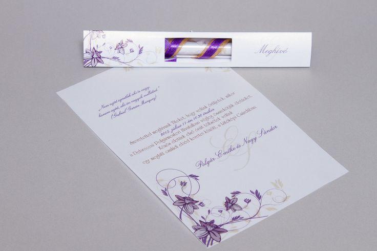 Lila kémcsöves esküvői meghívó _ purple message in bottle wedding invitation