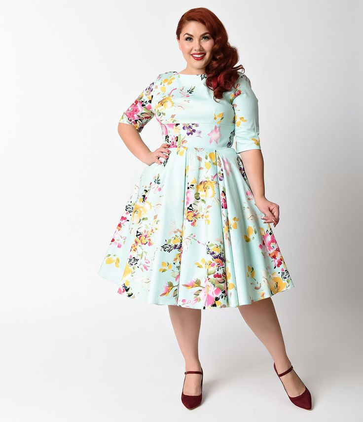 Plus Size Retro Dresses Plus Size Swing Dress Mint Green Floral