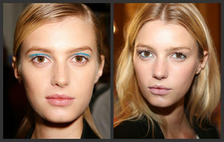 Felle blauwe eyeliner (die past bij blauw sieraden)