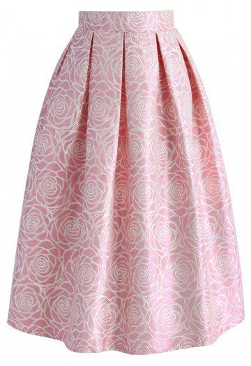 Would a rose by any other name be as chic? Probably not. This glossy rose jacquard midi skirt in pink is as girly and glamorous as it gets with its textured rose pattern.   - Texture rose pattern all over - Lustrous fabric finished - Box pleates from waist - Concealed back zip closure - Lined - 90% Polyester. 10% Linen - Machine washable  Size(cm)   Length  Waist XS                 72           66 S                    72           70 M                    72           74 L                    …
