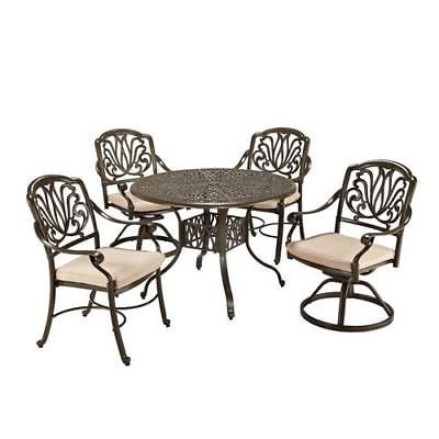 Floral Blossom Taupe Round Outdoor Table with Two Swivel Chairs and Two Arm