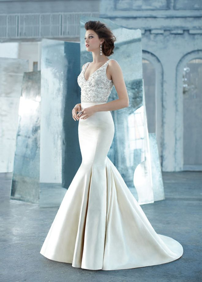 Lazaro Spring 2013 Style Antique Silk Faced Satin Trumpet Bridal Gown Sheer Jewel Encrusted V Neck Bodice Crystal Trim At Natural Waist Chapel Train