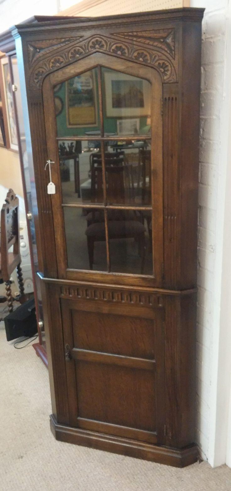 1930's Oak Carved Corner Cabinet