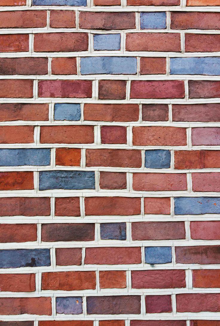Red & Blue Bricks Wall