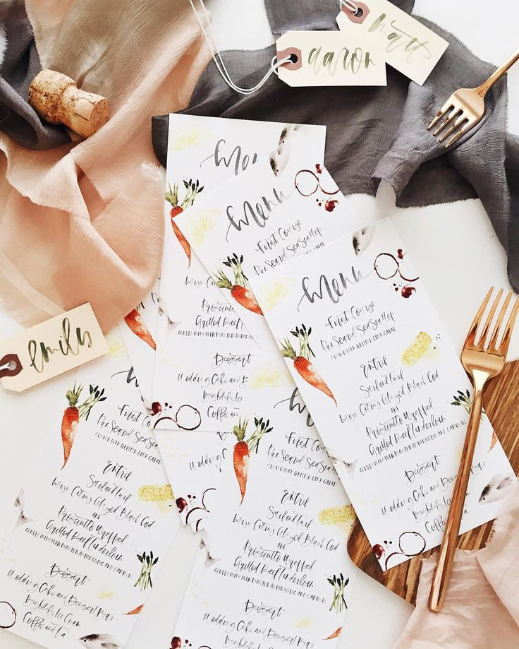 hand lettered illustrated menus via AFabulousFete