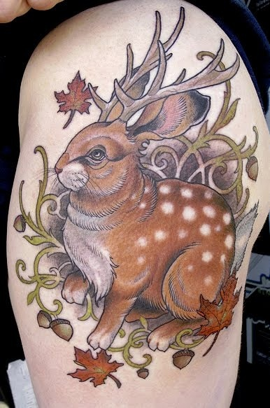 Another wolpertinger tattoo. Missing the wings, but I love the deer spots! By Ryan Mason