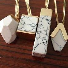 2017 Style Hot Summer Fashion Brand Fashion Design Geometric White Faux Marble Stone Pendant Necklace for Women (China (Mainland))