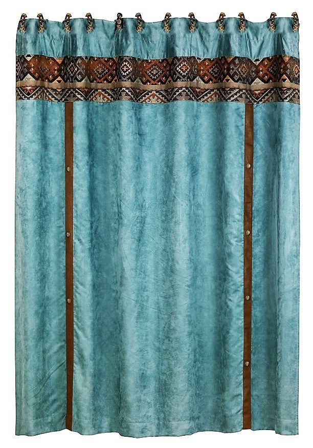 Del Rio Shower Curtain in Blue - Southwestern Bath Decor