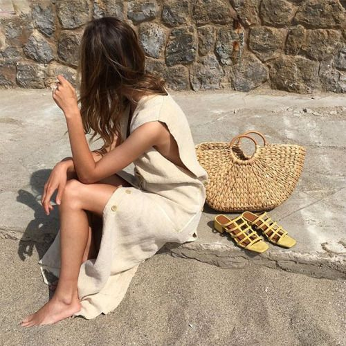 Perfect Summer Outfit Pastel Yellow Dress And Straw Bag