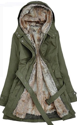 Long Winter Hoodie Coat - Faux Fur Lining - Womens Coats - I Sell Goods - 2