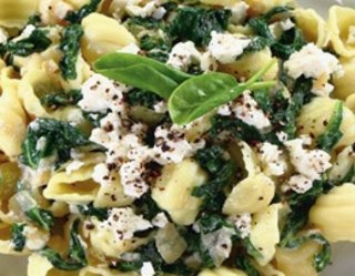 Makaron ze szpinakiem i serem feta - Pasta with spinach and feta