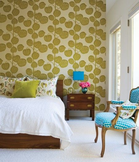 Green And Blue Bedroom Design Bold Chartreuse Wallpaper